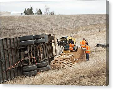 Lorry Accident Cleanup Canvas Print by Jim West