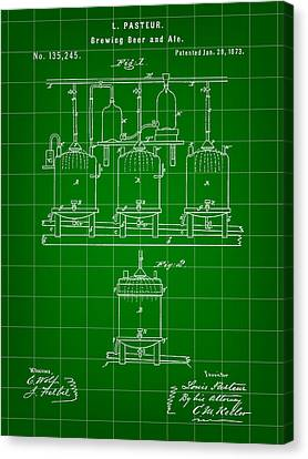 Louis Pasteur Beer Brewing Patent 1873 - Green Canvas Print by Stephen Younts