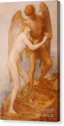 Sweet Touch Canvas Print - Love And Life by George Frederic Watts