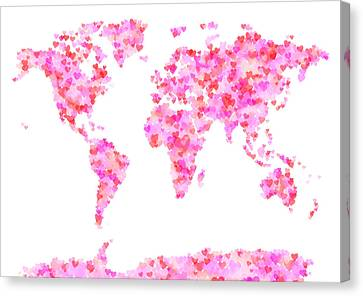 World Map Canvas Print - Love Hearts Map Of The World Map by Michael Tompsett