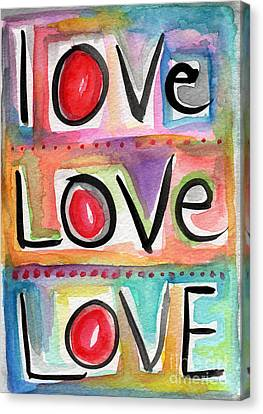 Shower Canvas Print - Love by Linda Woods