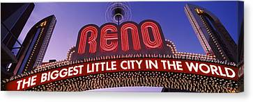 Low Angle View Of The Reno Arch Canvas Print