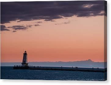 Lake Michigan Canvas Print - Ludington North Breakwater Lighthouse by Sebastian Musial