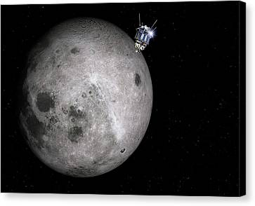 Luna 3 Over The Moon Canvas Print by Detlev Van Ravenswaay