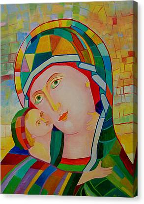 Our Lady Nursing The Infant Jesus Orthodox Christian Icon. Virgin Mary And Child Painting Canvas Print by Magdalena Walulik