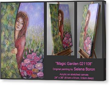 Canvas Print featuring the painting Magic Garden 021108 by Selena Boron