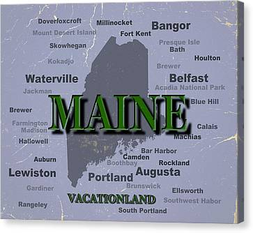 Maine State Pride Map Silhouette  Canvas Print by Keith Webber Jr