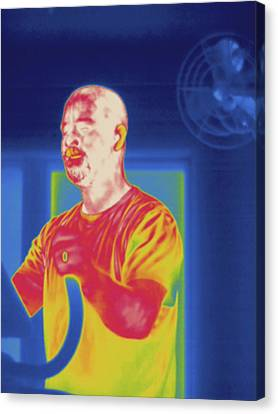 Man Exercising, Thermogram Canvas Print by Science Stock Photography