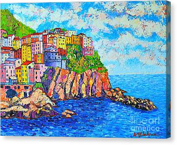 Sea And Sky Canvas Print - Manarola Cinque Terre Italy  by Ana Maria Edulescu