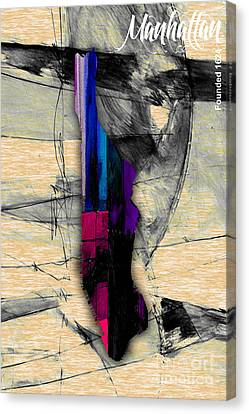 Manhattan Map Watercolor Canvas Print by Marvin Blaine