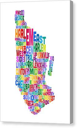 Manhattan New York Typography Text Map Canvas Print by Michael Tompsett