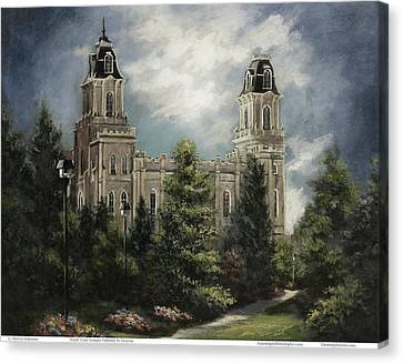 Manti Utah Temple-pathway To Heaven Pastel Canvas Print