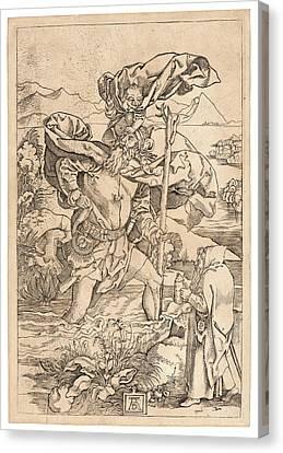 Saint Christopher Canvas Print - Marcantonio Raimondi Italian, Ca. 14701482 - 15271534 by Litz Collection