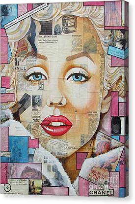 Marilyn In Pink And Blue Canvas Print by Joseph Sonday