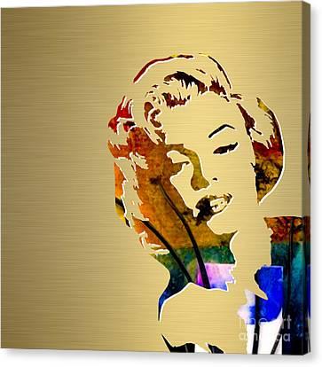 Marilyn Canvas Print - Marilyn Monroe Gold Series by Marvin Blaine