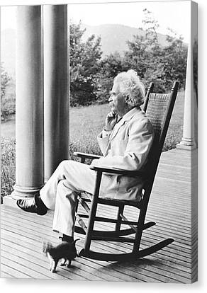 Side Porch Canvas Print - Mark Twain On A Porch by Underwood Archives