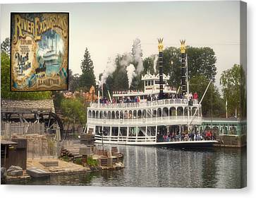 Mark Twain Riverboat Signage Frontierland Disneyland Canvas Print by Thomas Woolworth