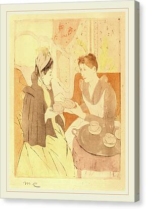 Mary Cassatt, Afternoon Tea Party, American Canvas Print