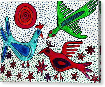 Mayan Birds Canvas Print by Sarah Loft
