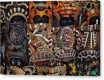 Mayan Wooden Masks For Sale Canvas Print by Brandon Bourdages