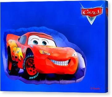 Mcqueen Cars Canvas Print by George Rossidis