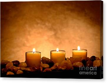 Glowing Canvas Print - Meditation Candles by Olivier Le Queinec