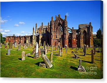 Canvas Print featuring the photograph Melrose Abbey Scotland by Craig B