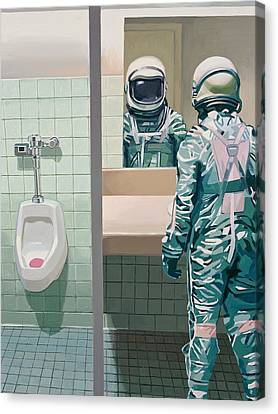 Canvas Print featuring the painting Men's Room by Scott Listfield
