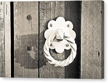 Medieval Entrance Canvas Print - Metal Knocker by Tom Gowanlock