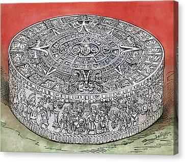 Disc Canvas Print - Mexico Stone Of The Sun by Granger