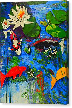 Miami Koi Collage Canvas Print by Angela Annas
