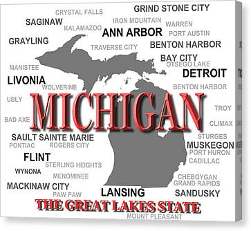 Michigan State Pride Map Silhouette  Canvas Print by Keith Webber Jr