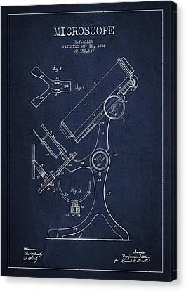 Microscope Patent Drawing From 1886 - Navy Blue Canvas Print by Aged Pixel