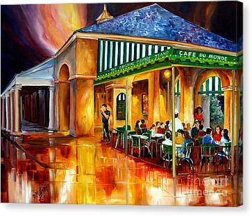 Bistro Canvas Print - Midnight At The Cafe Du Monde by Diane Millsap