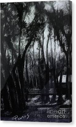 Canvas Print featuring the drawing Midnight Moon by Mary Lynne Powers