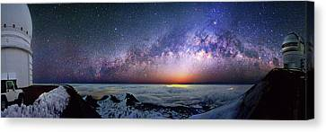 Milky Way Over Telescopes On Hawaii Canvas Print by Walter Pacholka, Astropics