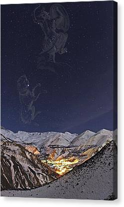 Snowy Night Night Canvas Print - Milky Way Over The Alborz Mountains, by Babak Tafreshi