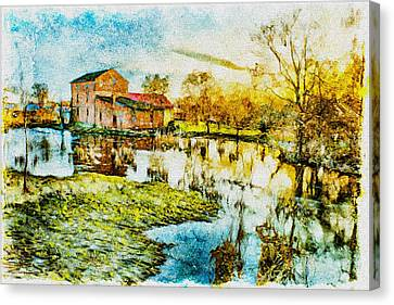 Mill By The River Canvas Print by Jaroslaw Grudzinski
