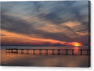 Mirrored Sunset Colors On Santa Rosa Sound Canvas Print by Jeff at JSJ Photography