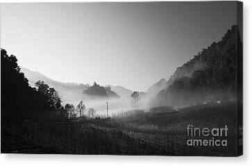 Mist In The Valley Canvas Print by Setsiri Silapasuwanchai