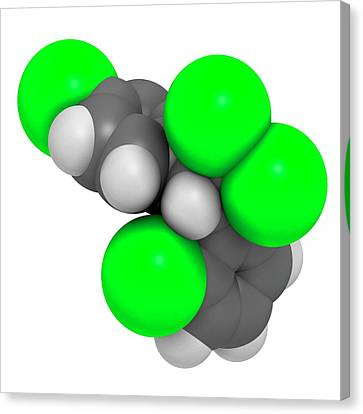 Mitotane Cancer Drug Molecule Canvas Print by Molekuul
