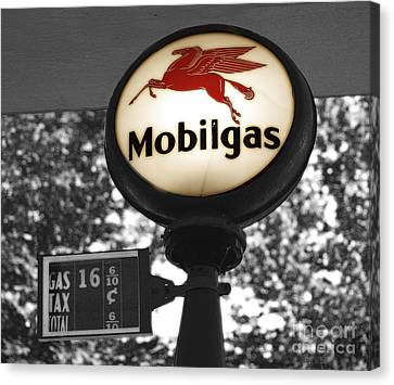 Mobil Gas Canvas Print by Raymond Earley