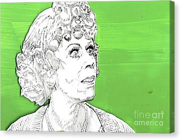 Canvas Print featuring the mixed media Momma On Green by Jason Tricktop Matthews