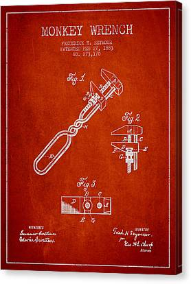 Monkey Wrench Patent Drawing From 1883 Canvas Print by Aged Pixel