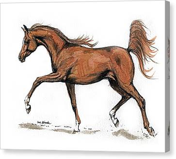 Running Horses Canvas Print featuring the drawing Monogramm by Angel  Tarantella