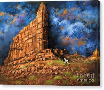 Canvas Print featuring the painting Monument Valley by S G