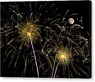 Moon Over Golden Starburst- July Fourth - Fireworks Canvas Print by Penny Lisowski
