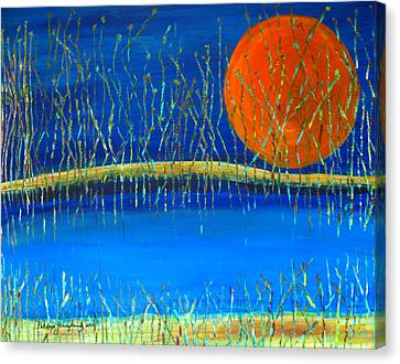 Canvas Print featuring the painting Moon Shadow by Patricia Januszkiewicz