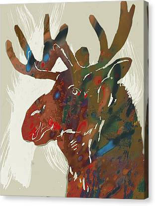Moose Canvas Print - Moose - Wild Animal Stylised Pop Art Drawing Portrait Poster by Kim Wang