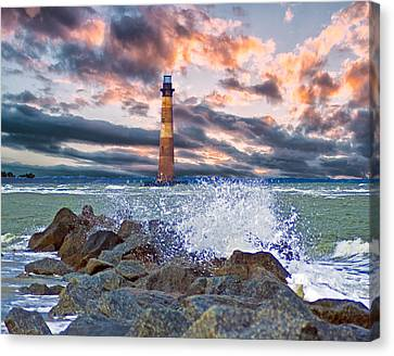 Morris Island Lighthouse Canvas Print by Bill Barber